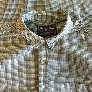 Men's Abercrombie & Fitch Green/White Button Down